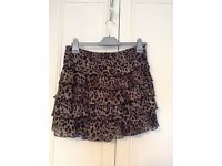 Lipsy animal print chiffon layered ruffle short skirt size 12