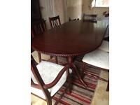 Extendable Mahogany table and chairs