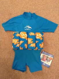 Child's float suit, age 2-3, brand new with labels, blue with clownfish design, Konfidence brand