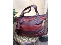 Whistles large brown and tan leather handbag
