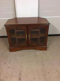 Tv unit in medium dark wood with storage solid wood great condition