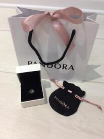 Pandora genuine silver and black flower charm