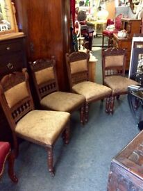 Set of 4x antique carved dining chairs