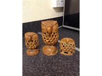 """Three wooden owl carvings with little owlets inside 6"""", 4"""" and 3"""" in height £15"""