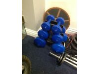 Dumbells, set of 6 with stand