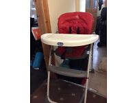 Chicco high chair in red foldable