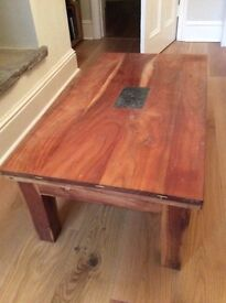 Hard wood coffee table with attractive slate tile inset