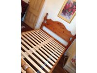 Quality double mattress and thick pine bedframe