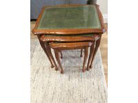 Redwood nest 3 tables, with leather insert and glass top. Good condition.