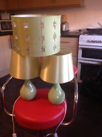 Green side table lamps (2) of and one green shade