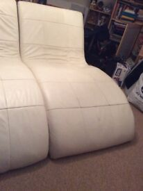 Two faux leather Chaise Longue in Cream