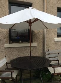 Wooden Table , Parasol, 4 chairs