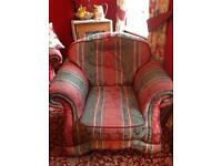 Settee and two chairs with pouffe