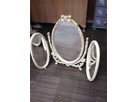 Gold and cream triple mirror shabby chic