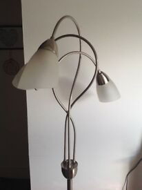 Silver floor lamp with three frosted glass shades excellent condition
