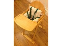 Wooden High Chair from Mothercare.