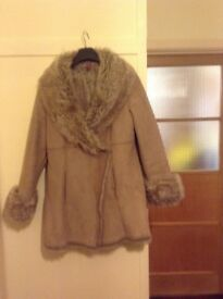 Monsoon faux fur and sheepskin coat size 14