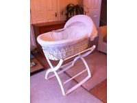 Beautiful Izziwotnot moses basket and rocking stand
