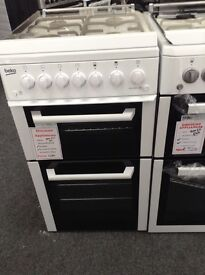 White Beko 50cm gas cooker with glass lid 12 month gtee
