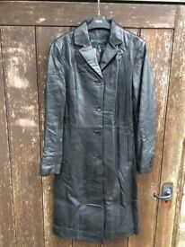 Kenneth Cole black leather coat (size 12)