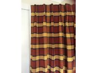 "Two pairs terracotta & yellow checked curtains each pair 76"" wide x 67"" drop"