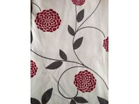 Curtains - ivory background with chrysantemum pattern - VGC