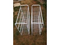 Two 4 tier metal mesh storage racks ready assembled