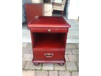 Mahogany look, chest of drawers and bedside tables