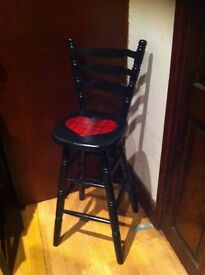 ONE OF A KIND, the bar stool , hand painted black with varnish finish