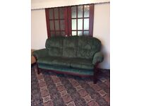 Three seater sofa with matching armchair (cottage style)
