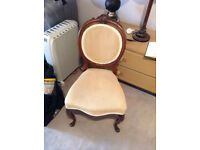 Antique Solid Mahogany Wood Chair/ Cream Fabric