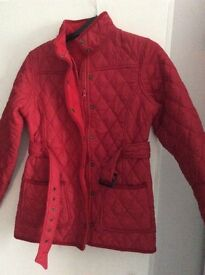 Red Barbour style jacket
