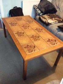 Large tiled top coffee table
