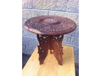 Small vintage ornamental,oriental hand carved table