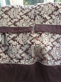 Brown and silvery white throw with two shams