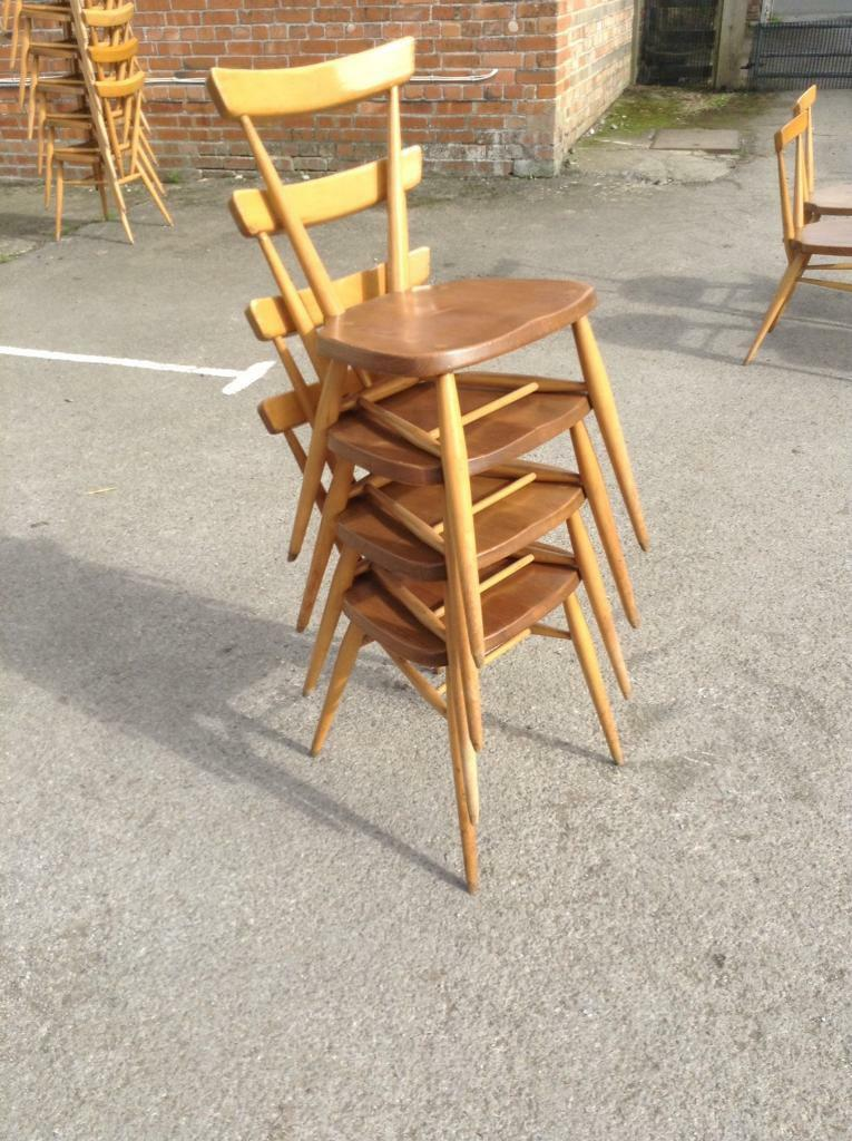 Mid Century Modern Ercol Adult Height Stacking Chairs Blonde 12 available