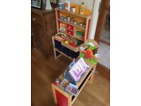 Wooden Child's Toy Shop with Till and accessories