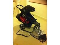 phil teds dot double buggy/pushchair with navigator wheels, near excellent cond, double rain cover