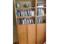 Book cases, birch, two doors and top shelves, excellent condition