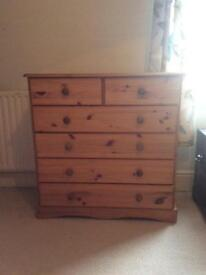 Pine bedroom set - 4 pieces. Ideal for upcycling. Totley S17