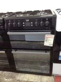 Beko 60cm black gas cooker. Double oven £320. 12 month Gtee