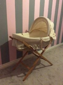 Moses basket + stand + 3 fitted sheets from Mamas & Papas