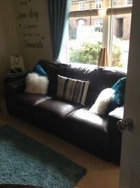 2 x 3 seater leather sofas from vogue in glasgow