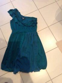 Hewsken Green Ladies Dress Size 12. Unusual design.