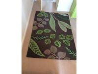 Next 100% wool brown/green leaf pattern, 140 x 200 ex.cond.