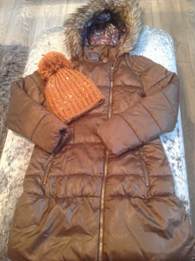 Girls next winter jacket/coat age 9/10 with matching sparkly bobble hat