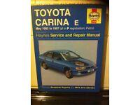 Haynes Manual For Toyota Carina E, 92-97