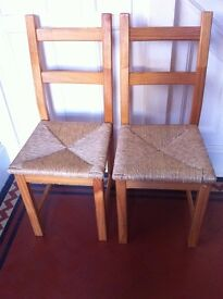 2 Modern Farmhouse Solid Wood Dining Chairs / Can Deliver