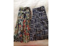 2 Ladies Summer skirts: Phase 8 (16), Monsoon (14) in cotton - and bright colours