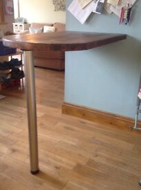 Butchers block,wood breakfast bar with leg & wall fixings